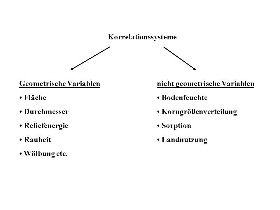 Korrelationssysteme Geometrische Variablen Fläche Durchmesser Reliefenergie Rauheit Wölbung etc. nicht geometrische Variablen Bodenfeuchte Korngrößenv