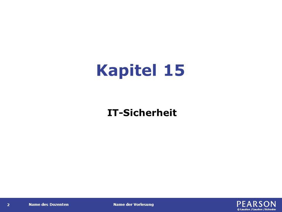 © Laudon /Laudon /Schoder Name des DozentenName der Vorlesung Kapitel 15 IT-Sicherheit 2