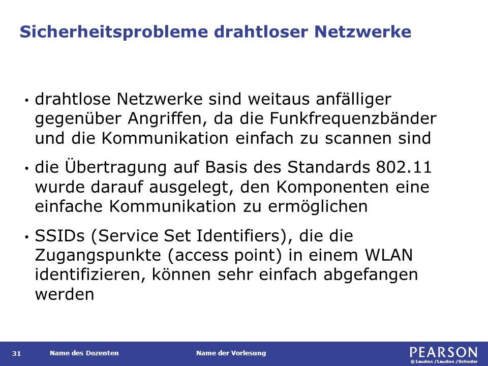 © Laudon /Laudon /Schoder Name des DozentenName der Vorlesung Sicherheitsprobleme drahtloser Netzwerke 31 drahtlose Netzwerke sind weitaus anfälliger gegenüber Angriffen, da die Funkfrequenzbänder und die Kommunikation einfach zu scannen sind die Übertragung auf Basis des Standards 802.11 wurde darauf ausgelegt, den Komponenten eine einfache Kommunikation zu ermöglichen SSIDs (Service Set Identifiers), die die Zugangspunkte (access point) in einem WLAN identifizieren, können sehr einfach abgefangen werden