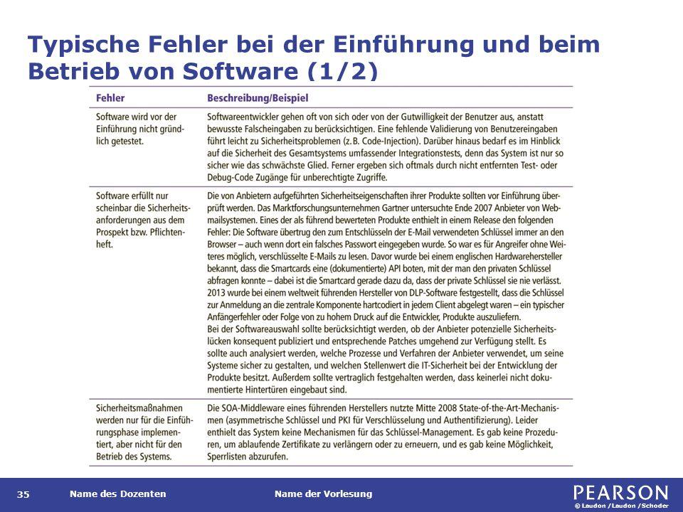 © Laudon /Laudon /Schoder Name des DozentenName der Vorlesung 35 Typische Fehler bei der Einführung und beim Betrieb von Software (1/2)