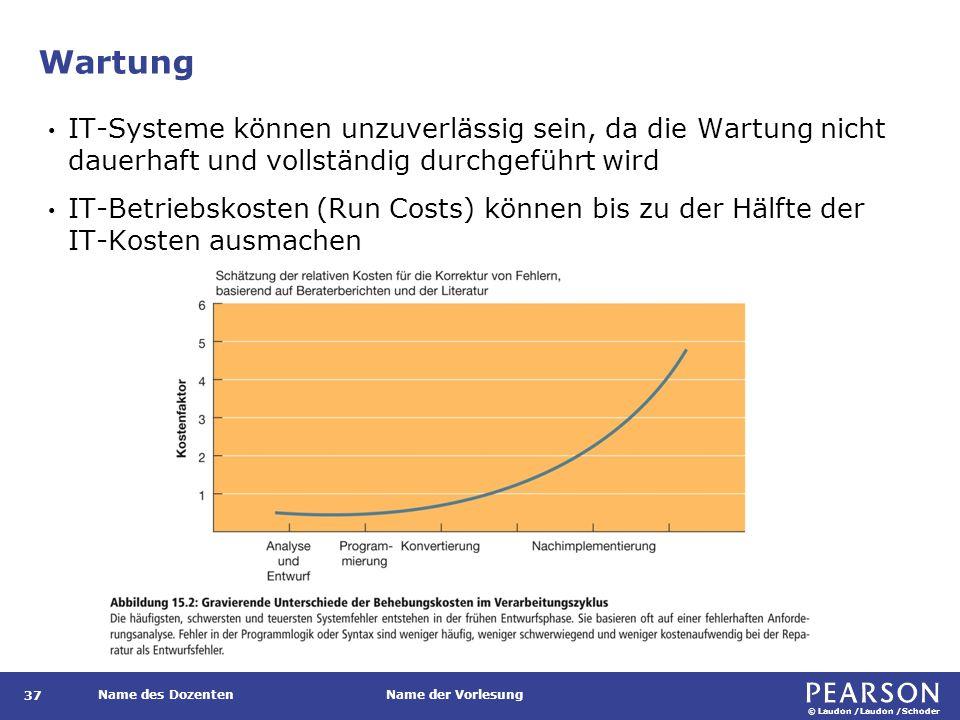 © Laudon /Laudon /Schoder Name des DozentenName der Vorlesung Wartung 37 IT-Systeme können unzuverlässig sein, da die Wartung nicht dauerhaft und vollständig durchgeführt wird IT-Betriebskosten (Run Costs) können bis zu der Hälfte der IT-Kosten ausmachen