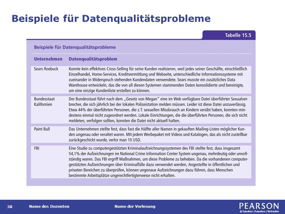 © Laudon /Laudon /Schoder Name des DozentenName der Vorlesung 38 Beispiele für Datenqualitätsprobleme