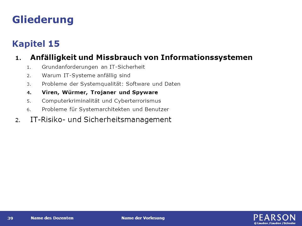© Laudon /Laudon /Schoder Name des DozentenName der Vorlesung Gliederung 39 1.
