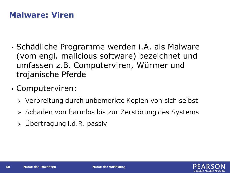 © Laudon /Laudon /Schoder Name des DozentenName der Vorlesung Malware: Viren 40 Schädliche Programme werden i.A.