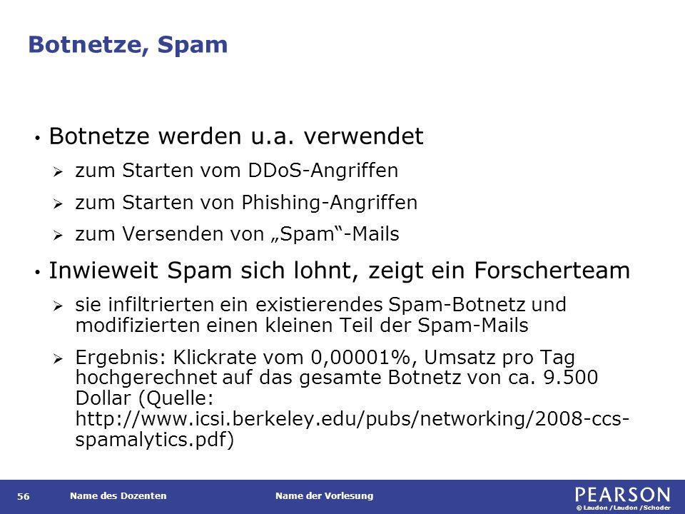 © Laudon /Laudon /Schoder Name des DozentenName der Vorlesung Botnetze, Spam 56 Botnetze werden u.a.