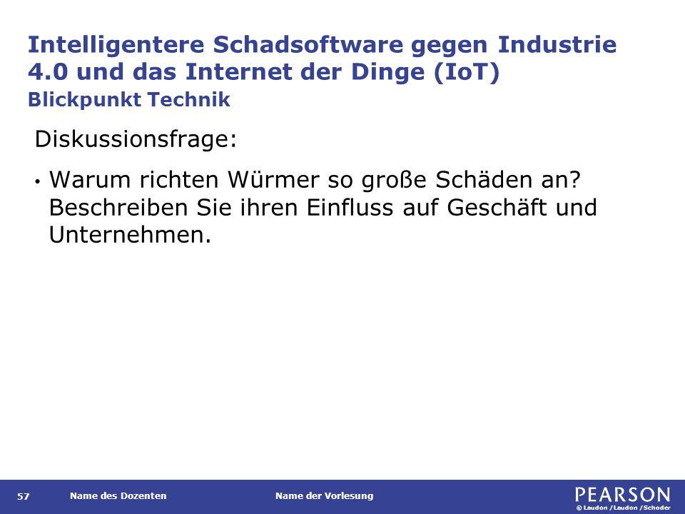 © Laudon /Laudon /Schoder Name des DozentenName der Vorlesung Intelligentere Schadsoftware gegen Industrie 4.0 und das Internet der Dinge (IoT) 57 Diskussionsfrage: Warum richten Würmer so große Schäden an.
