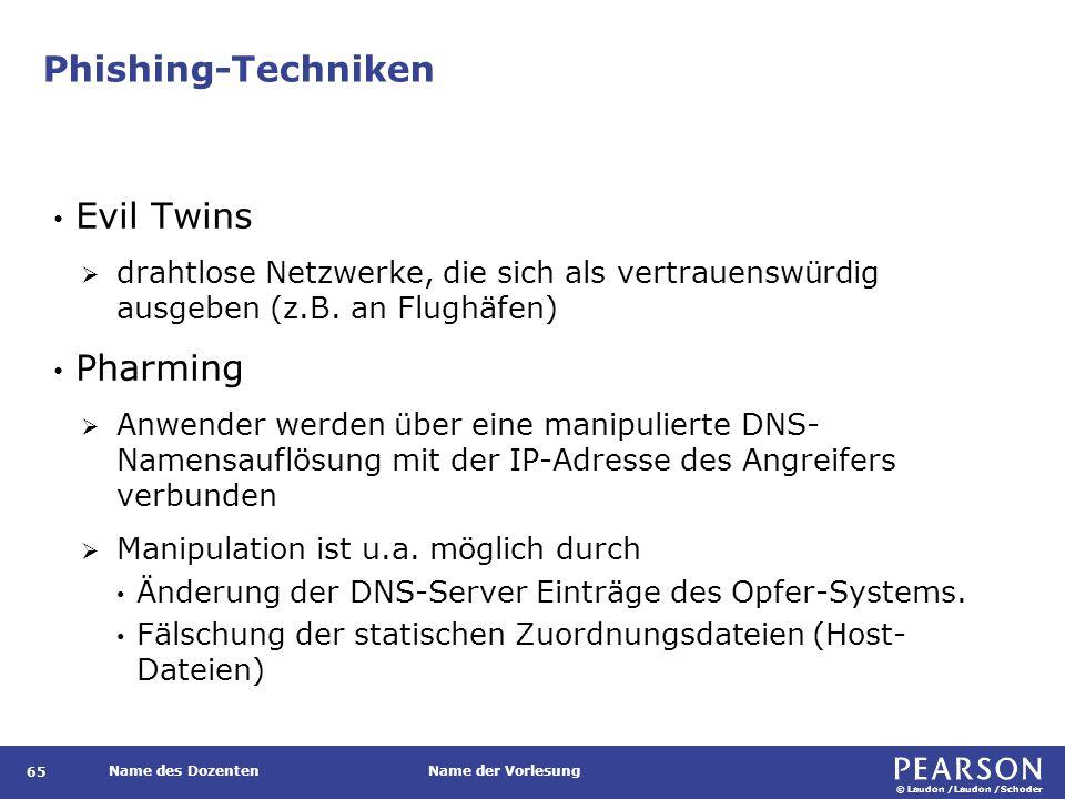 © Laudon /Laudon /Schoder Name des DozentenName der Vorlesung Phishing-Techniken 65 Evil Twins  drahtlose Netzwerke, die sich als vertrauenswürdig ausgeben (z.B.