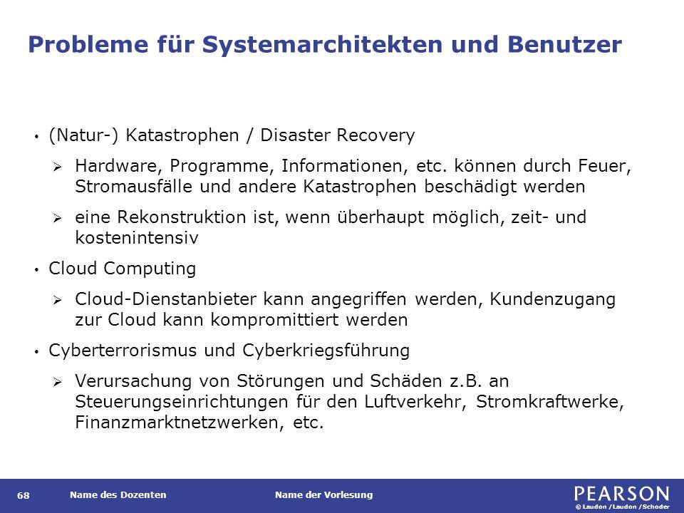 © Laudon /Laudon /Schoder Name des DozentenName der Vorlesung Probleme für Systemarchitekten und Benutzer 68 (Natur-) Katastrophen / Disaster Recovery  Hardware, Programme, Informationen, etc.