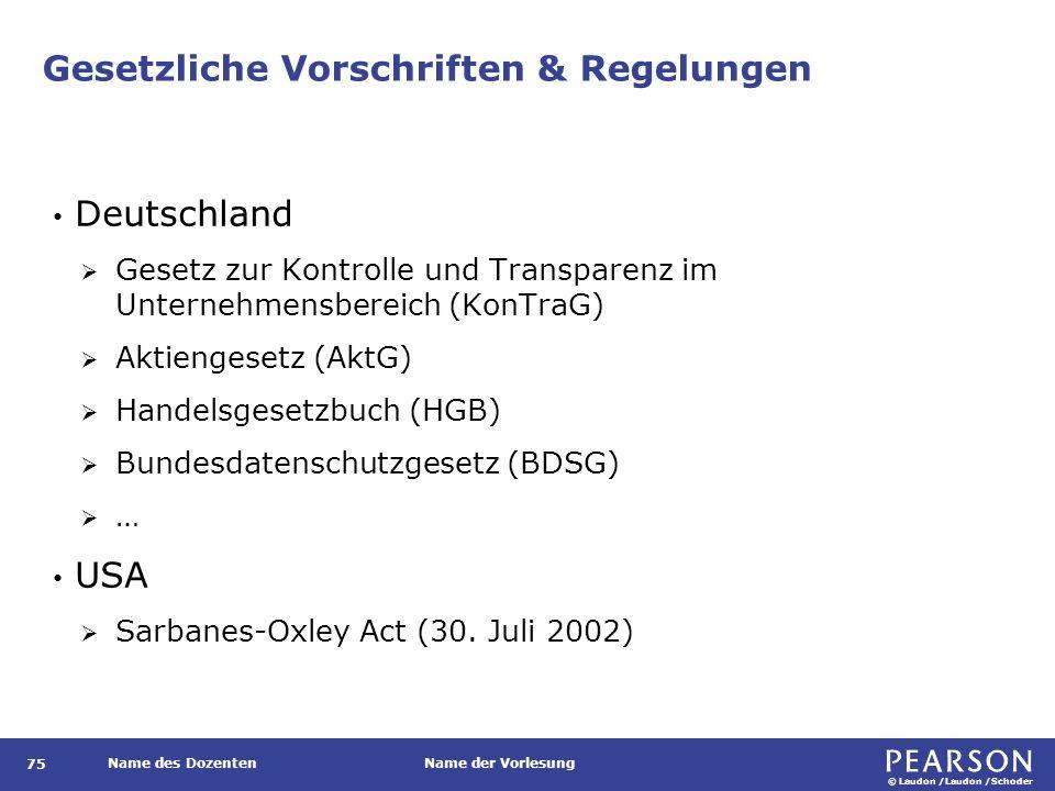 © Laudon /Laudon /Schoder Name des DozentenName der Vorlesung Gesetzliche Vorschriften & Regelungen 75 Deutschland  Gesetz zur Kontrolle und Transparenz im Unternehmensbereich (KonTraG)  Aktiengesetz (AktG)  Handelsgesetzbuch (HGB)  Bundesdatenschutzgesetz (BDSG)  … USA  Sarbanes-Oxley Act (30.