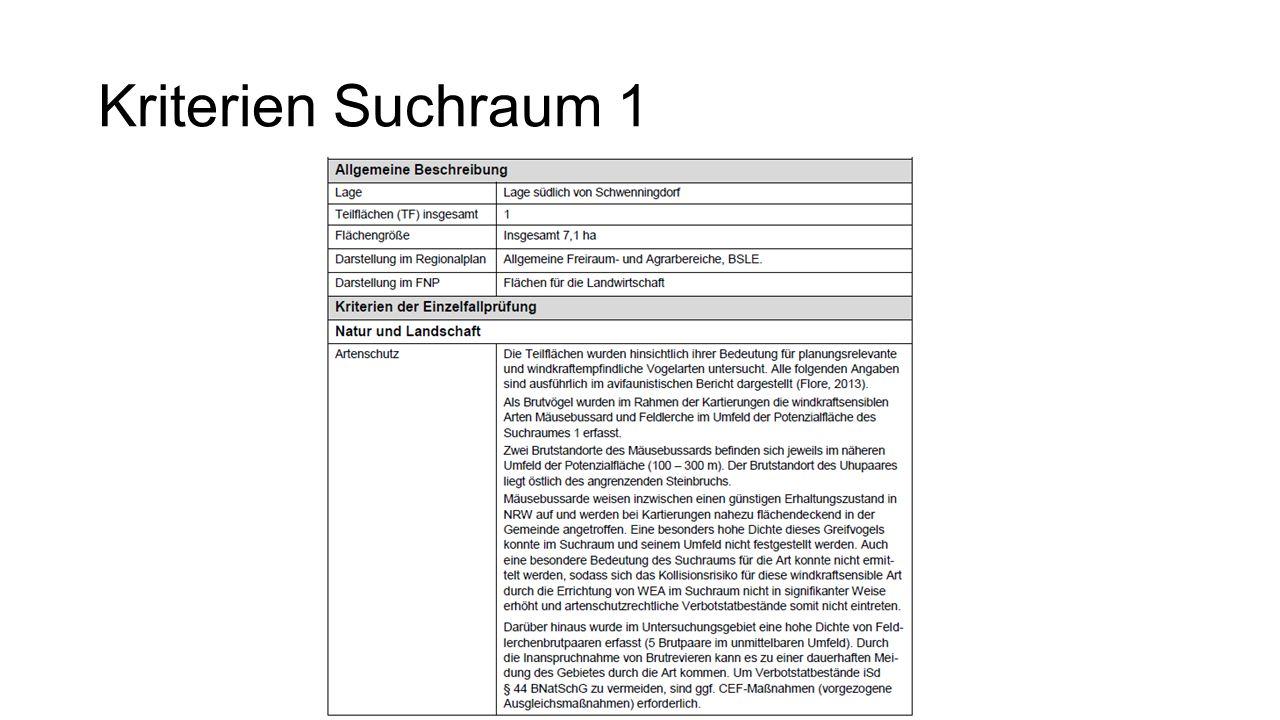 Kriterien Suchraum 1