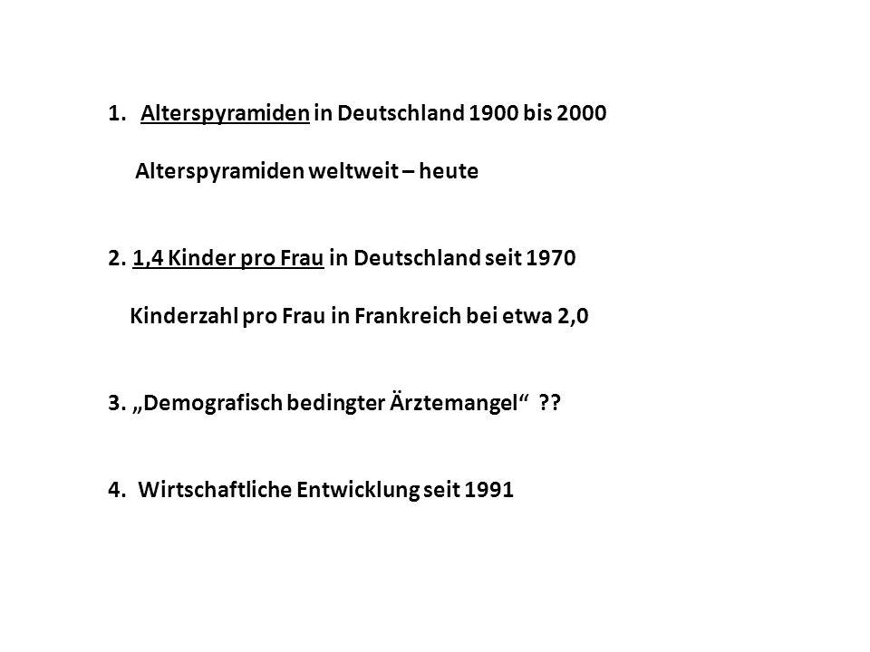 1.Alterspyramiden in Deutschland 1900 bis 2000 Alterspyramiden weltweit – heute 2.