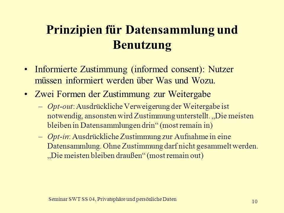 Seminar SWT SS 04, Privatsphäre und persönliche Daten 10 Prinzipien für Datensammlung und Benutzung Informierte Zustimmung (informed consent): Nutzer