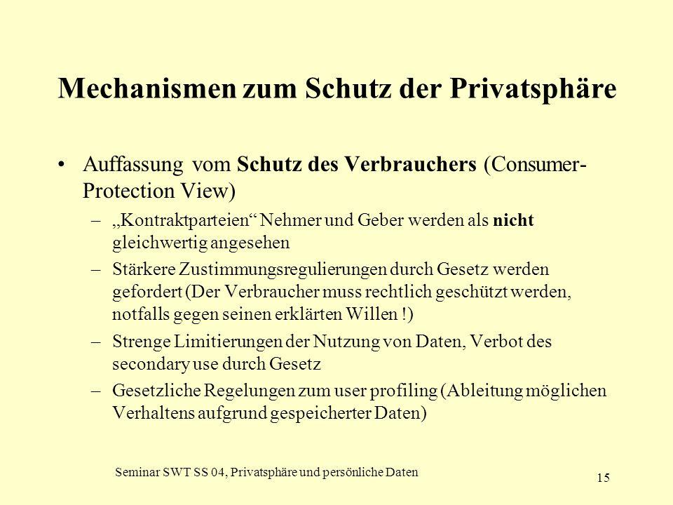 Seminar SWT SS 04, Privatsphäre und persönliche Daten 15 Mechanismen zum Schutz der Privatsphäre Auffassung vom Schutz des Verbrauchers (Consumer- Pro