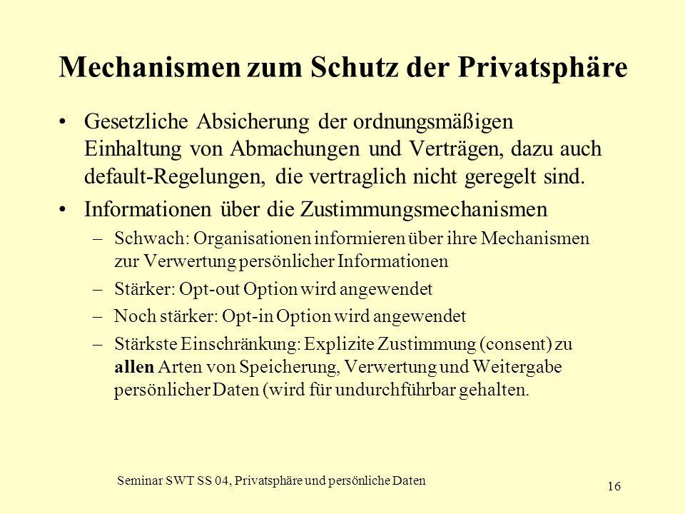 Seminar SWT SS 04, Privatsphäre und persönliche Daten 16 Mechanismen zum Schutz der Privatsphäre Gesetzliche Absicherung der ordnungsmäßigen Einhaltun