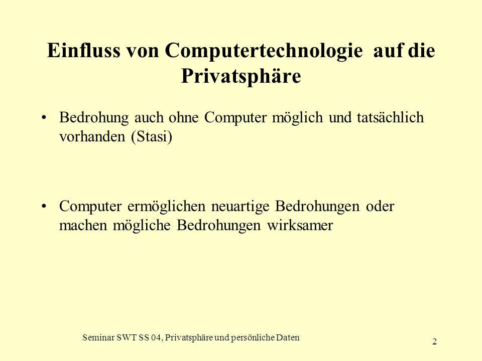 Seminar SWT SS 04, Privatsphäre und persönliche Daten 2 Einfluss von Computertechnologie auf die Privatsphäre Bedrohung auch ohne Computer möglich und