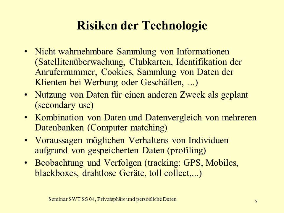 Seminar SWT SS 04, Privatsphäre und persönliche Daten 5 Risiken der Technologie Nicht wahrnehmbare Sammlung von Informationen (Satellitenüberwachung,