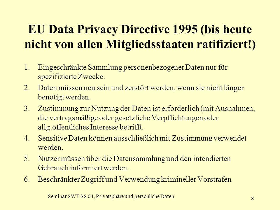 Seminar SWT SS 04, Privatsphäre und persönliche Daten 8 EU Data Privacy Directive 1995 (bis heute nicht von allen Mitgliedsstaaten ratifiziert!) 1.Ein