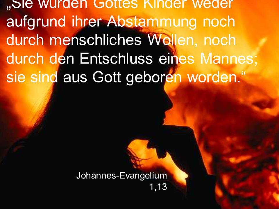 """Johannes-Evangelium 1,13 """"Sie wurden Gottes Kinder weder aufgrund ihrer Abstammung noch durch menschliches Wollen, noch durch den Entschluss eines Man"""