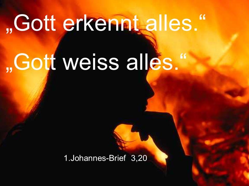 "1.Johannes-Brief 3,20 ""Gott erkennt alles."" ""Gott weiss alles."""