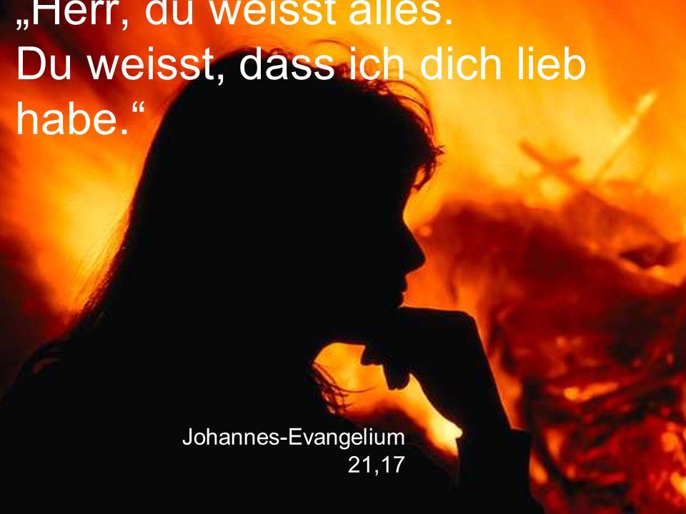 """Johannes-Evangelium 21,17 """"Herr, du weisst alles. Du weisst, dass ich dich lieb habe."""""""