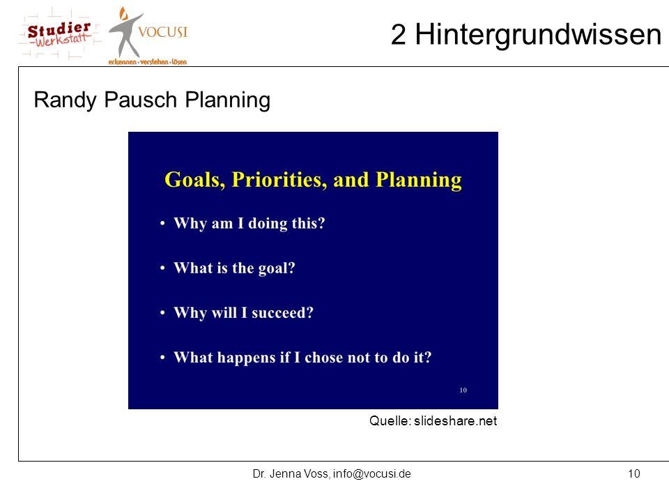 10Dr. Jenna Voss, info@vocusi.de 2 Hintergrundwissen Randy Pausch Planning Quelle: slideshare.net