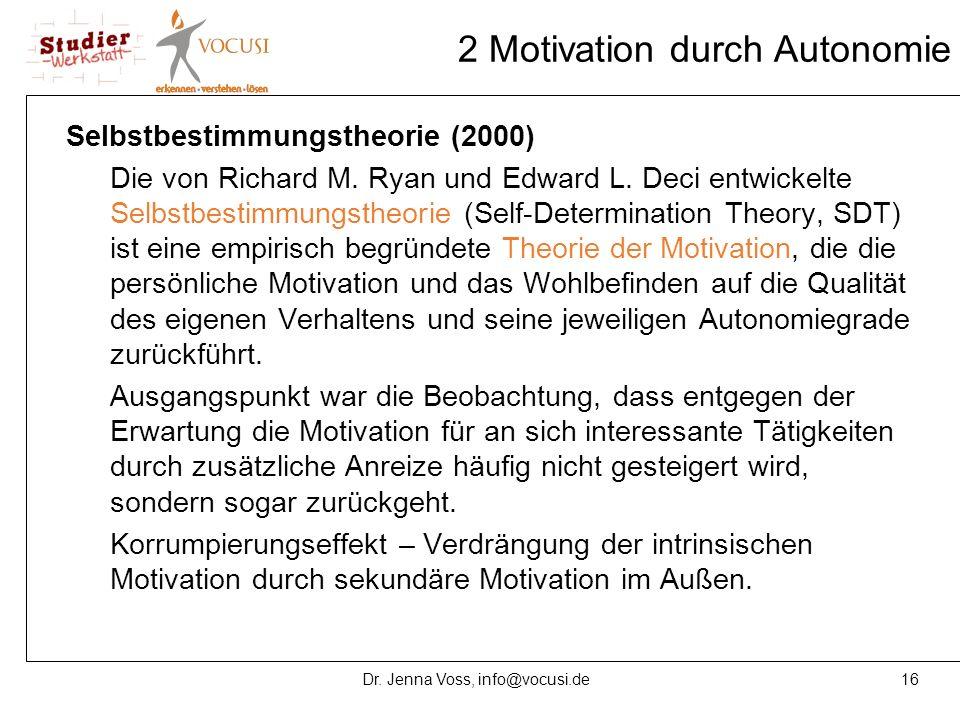 16Dr. Jenna Voss, info@vocusi.de 2 Motivation durch Autonomie Selbstbestimmungstheorie (2000) Die von Richard M. Ryan und Edward L. Deci entwickelte S