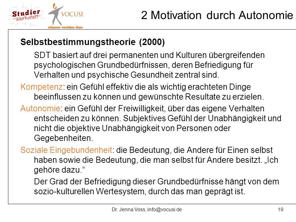 19Dr. Jenna Voss, info@vocusi.de 2 Motivation durch Autonomie Selbstbestimmungstheorie (2000) SDT basiert auf drei permanenten und Kulturen übergreife