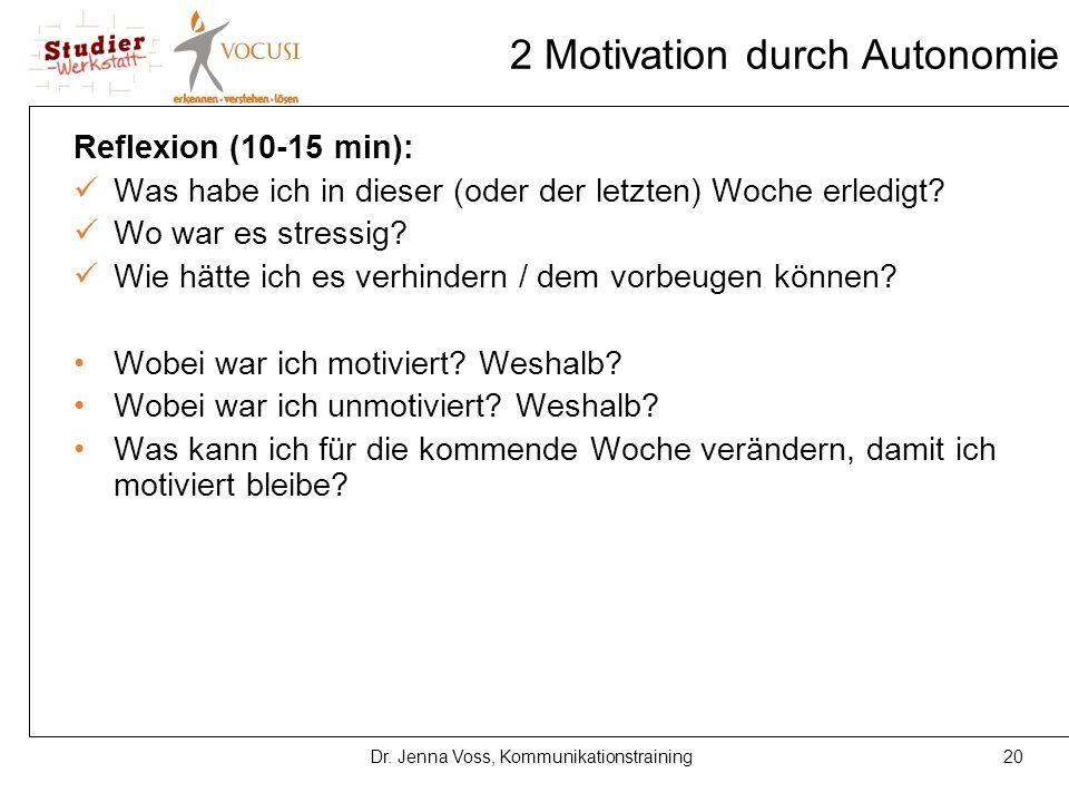 20Dr. Jenna Voss, Kommunikationstraining 2 Motivation durch Autonomie Reflexion (10-15 min): Was habe ich in dieser (oder der letzten) Woche erledigt?