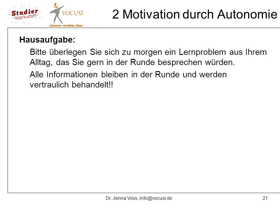 21Dr. Jenna Voss, info@vocusi.de 2 Motivation durch Autonomie Hausaufgabe: Bitte überlegen Sie sich zu morgen ein Lernproblem aus Ihrem Alltag, das Si