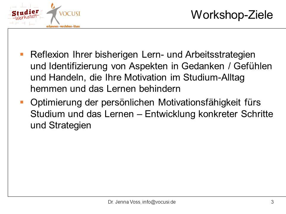 3Dr. Jenna Voss, info@vocusi.de Workshop-Ziele  Reflexion Ihrer bisherigen Lern- und Arbeitsstrategien und Identifizierung von Aspekten in Gedanken /
