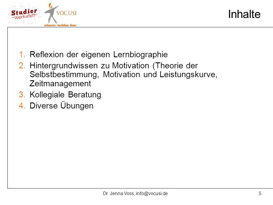 5Dr. Jenna Voss, info@vocusi.de Inhalte 1.Reflexion der eigenen Lernbiographie 2.Hintergrundwissen zu Motivation (Theorie der Selbstbestimmung, Motiva