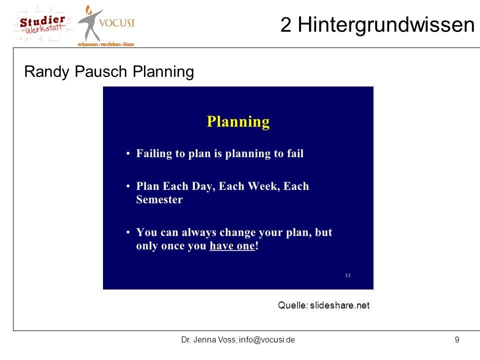 9Dr. Jenna Voss, info@vocusi.de 2 Hintergrundwissen Randy Pausch Planning Quelle: slideshare.net