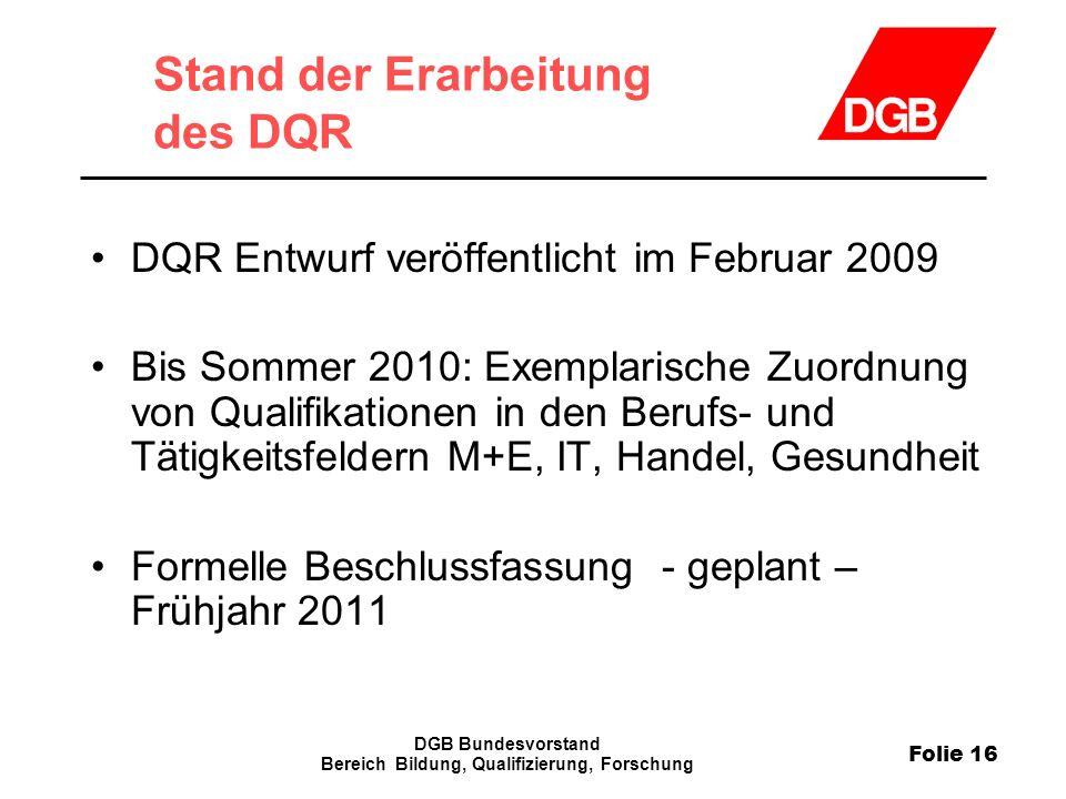 Folie 16 DGB Bundesvorstand Bereich Bildung, Qualifizierung, Forschung Stand der Erarbeitung des DQR DQR Entwurf veröffentlicht im Februar 2009 Bis So