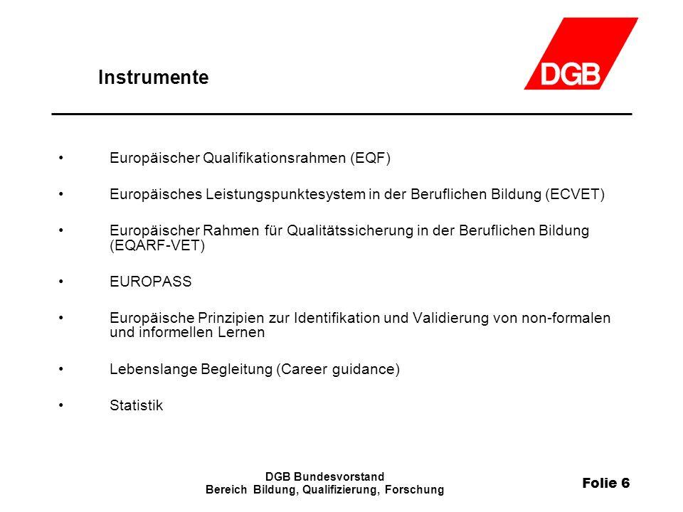 Folie 6 DGB Bundesvorstand Bereich Bildung, Qualifizierung, Forschung Instrumente Europäischer Qualifikationsrahmen (EQF) Europäisches Leistungspunkte
