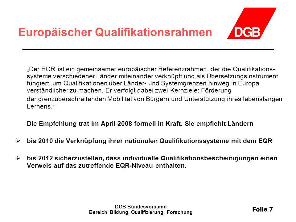 """Folie 7 DGB Bundesvorstand Bereich Bildung, Qualifizierung, Forschung Europäischer Qualifikationsrahmen """"Der EQR ist ein gemeinsamer europäischer Refe"""
