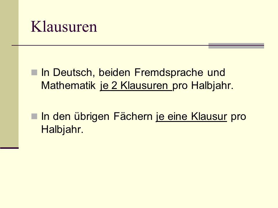 Klausuren In Deutsch, beiden Fremdsprache und Mathematik je 2 Klausuren pro Halbjahr.