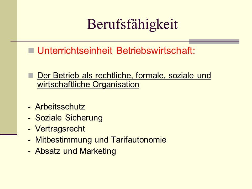 Berufsfähigkeit Unterrichtseinheit Betriebswirtschaft: Der Betrieb als rechtliche, formale, soziale und wirtschaftliche Organisation - Arbeitsschutz - Soziale Sicherung - Vertragsrecht - Mitbestimmung und Tarifautonomie - Absatz und Marketing