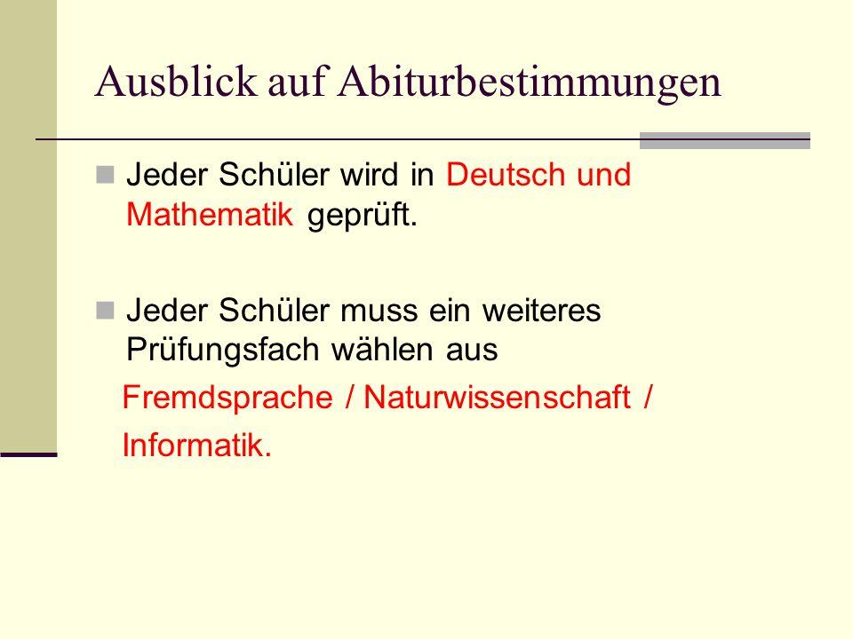 Ausblick auf Abiturbestimmungen Jeder Schüler wird in Deutsch und Mathematik geprüft. Jeder Schüler muss ein weiteres Prüfungsfach wählen aus Fremdspr
