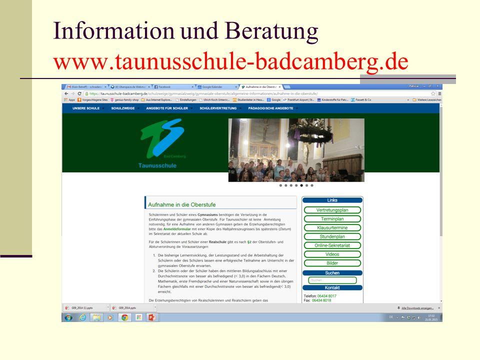 Information und Beratung www.taunusschule-badcamberg.de