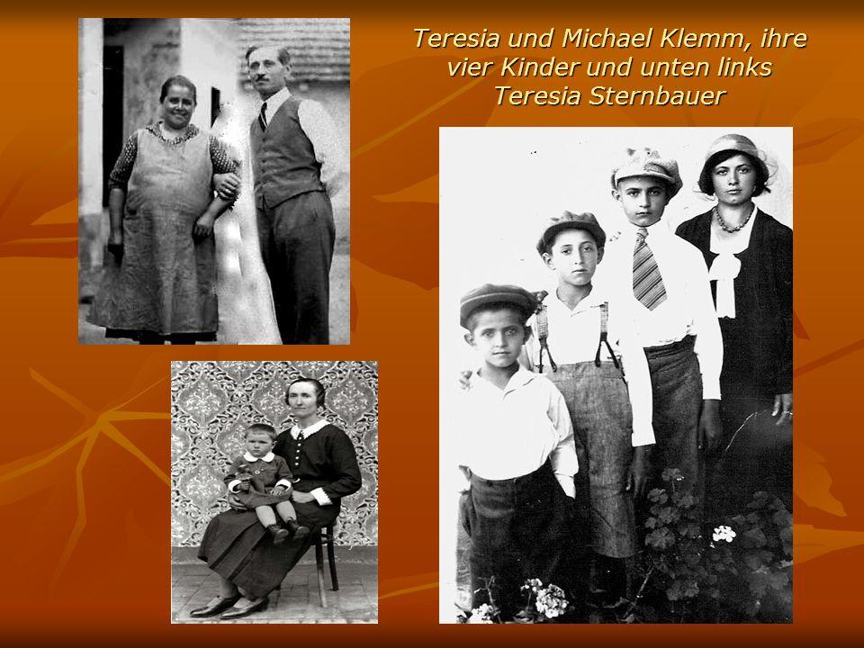 Teresia und Michael Klemm, ihre vier Kinder und unten links Teresia Sternbauer