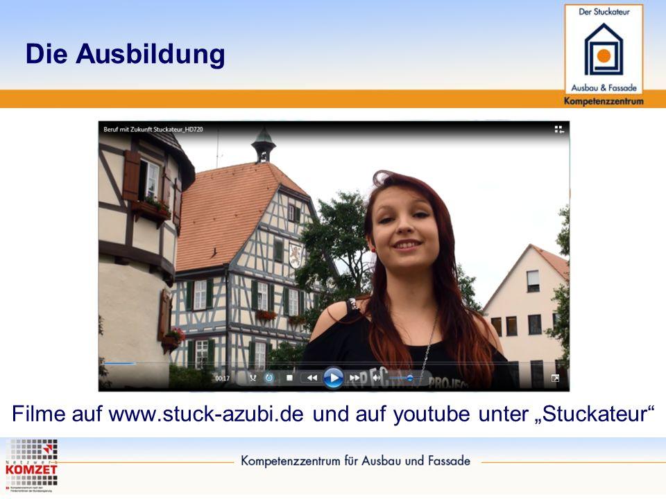 """Die Ausbildung Filme auf www.stuck-azubi.de und auf youtube unter """"Stuckateur"""""""
