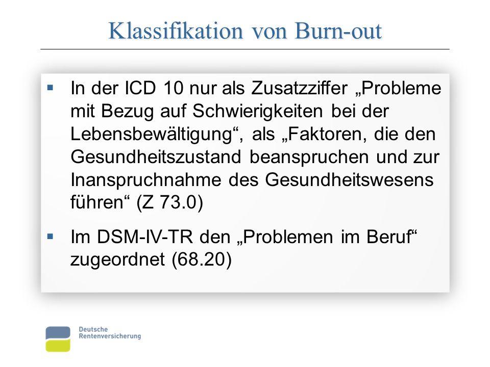 """Klassifikation von Burn-out  In der ICD 10 nur als Zusatzziffer """"Probleme mit Bezug auf Schwierigkeiten bei der Lebensbewältigung , als """"Faktoren, die den Gesundheitszustand beanspruchen und zur Inanspruchnahme des Gesundheitswesens führen (Z 73.0)  Im DSM-IV-TR den """"Problemen im Beruf zugeordnet (68.20)  In der ICD 10 nur als Zusatzziffer """"Probleme mit Bezug auf Schwierigkeiten bei der Lebensbewältigung , als """"Faktoren, die den Gesundheitszustand beanspruchen und zur Inanspruchnahme des Gesundheitswesens führen (Z 73.0)  Im DSM-IV-TR den """"Problemen im Beruf zugeordnet (68.20)"""