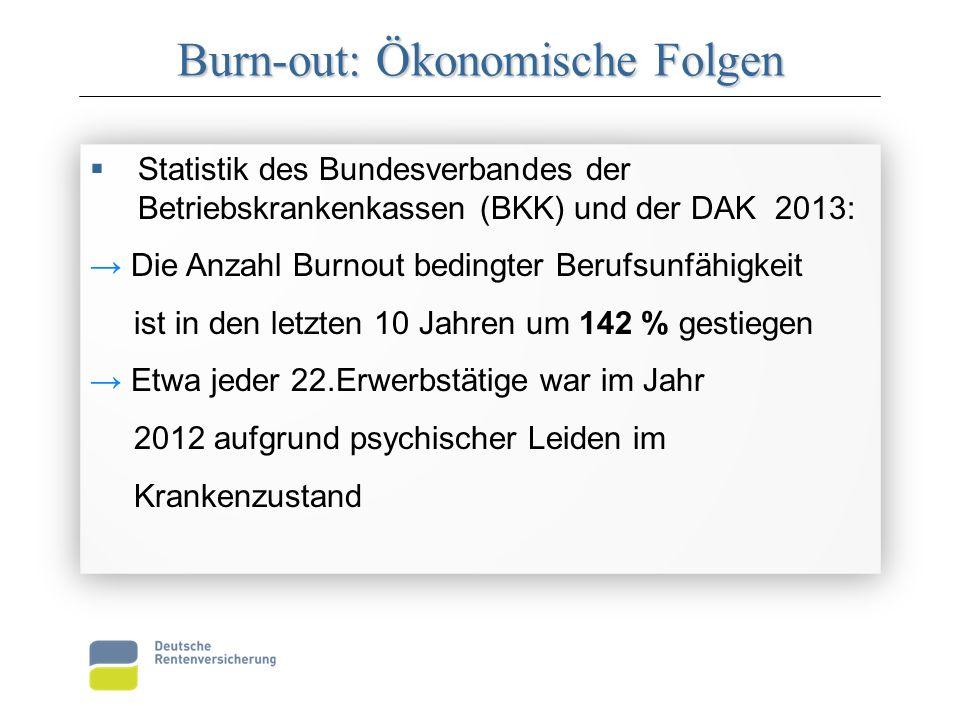Burn-out: Ökonomische Folgen  Statistik des Bundesverbandes der Betriebskrankenkassen (BKK) und der DAK 2013: → Die Anzahl Burnout bedingter Berufsun