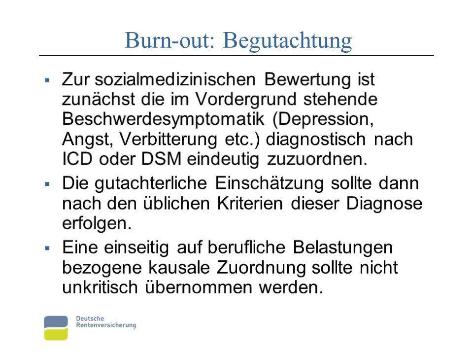 Burn-out: Begutachtung