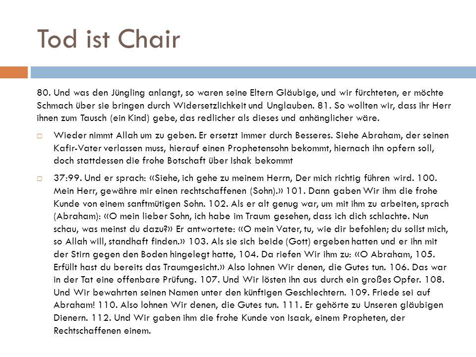 Tod ist Chair 80. Und was den Jüngling anlangt, so waren seine Eltern Gläubige, und wir fürchteten, er möchte Schmach über sie bringen durch Widersetz