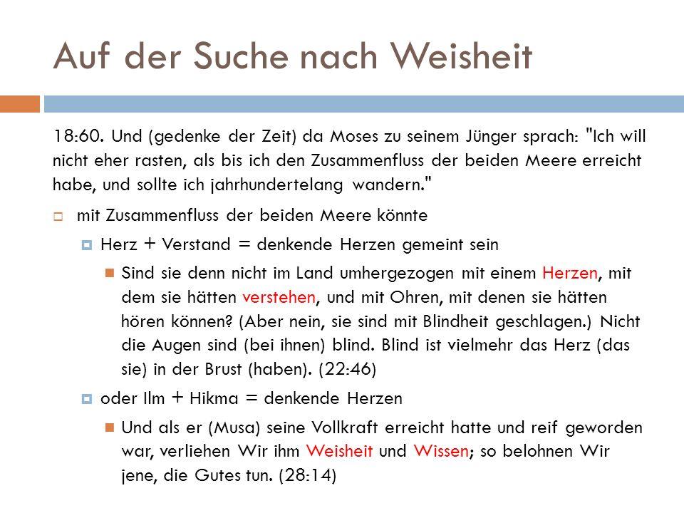 Auf der Suche nach Weisheit 18:60. Und (gedenke der Zeit) da Moses zu seinem Jünger sprach: