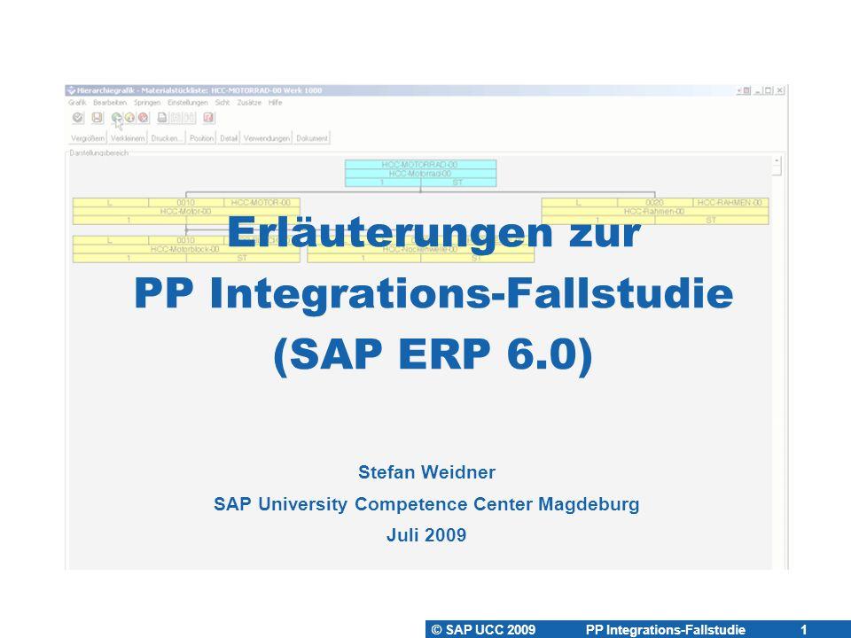 © SAP UCC 2009 PP Integrations-Fallstudie 12 Arbeitspläne anlegen Arbeitsplan  Beschreibung eines Fertigungsablaufs zur Herstellung von Werks-  materialien bzw.
