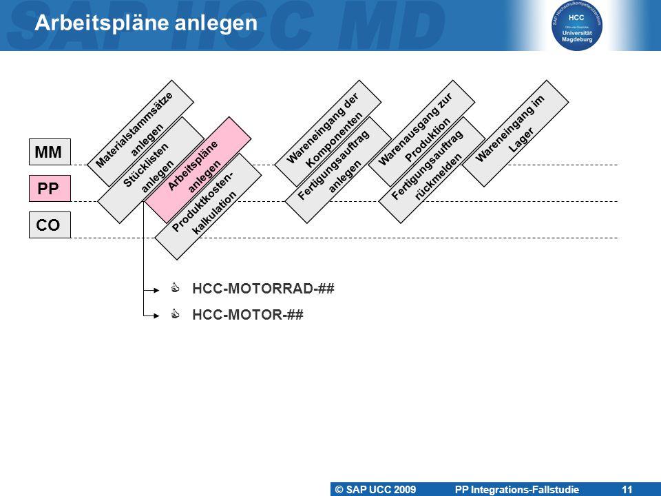 © SAP UCC 2009 PP Integrations-Fallstudie 11 Arbeitspläne anlegen Materialstammsätze anlegen Stücklisten anlegen Arbeitspläne anlegen Produktkosten- k