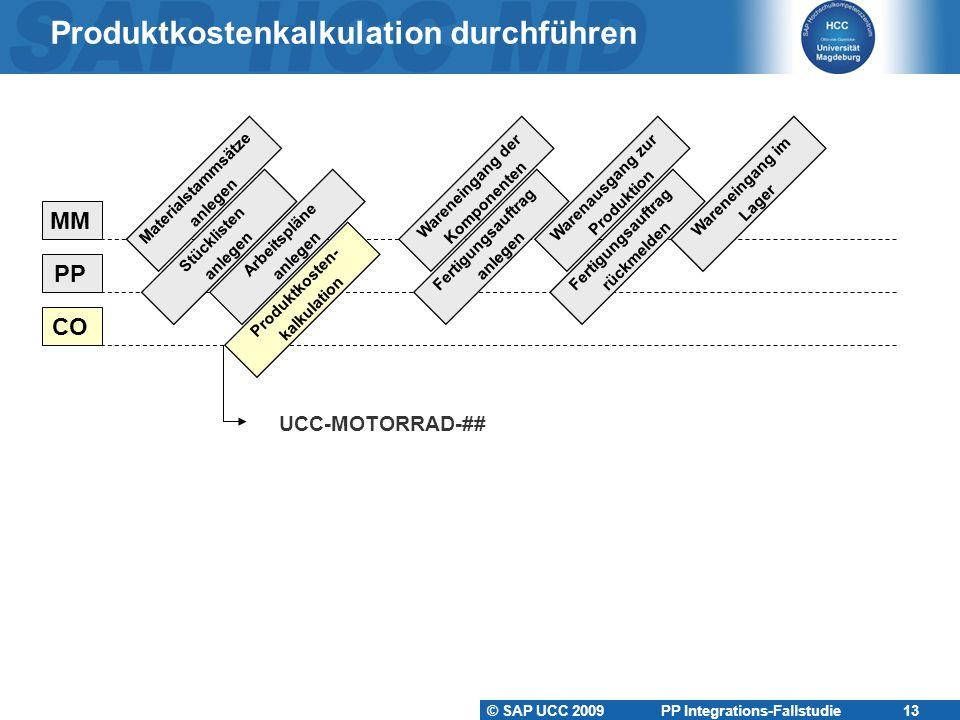 © SAP UCC 2009 PP Integrations-Fallstudie 13 Produktkostenkalkulation durchführen UCC-MOTORRAD-## Materialstammsätze anlegen Stücklisten anlegen Arbei
