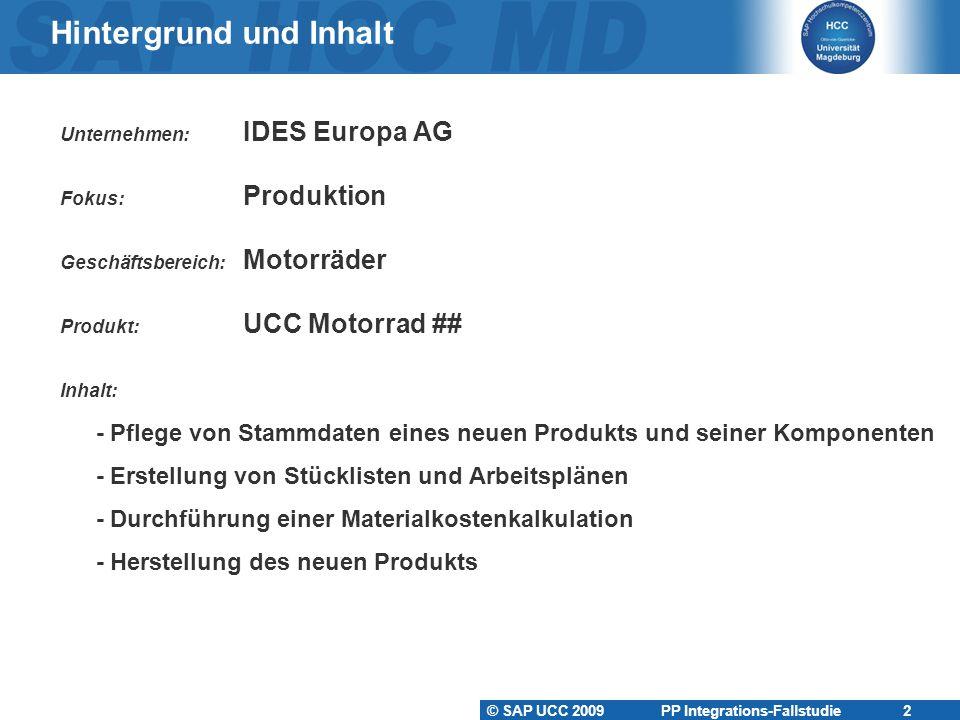 © SAP UCC 2009 PP Integrations-Fallstudie 2 Hintergrund und Inhalt Unternehmen: IDES Europa AG Fokus: Produktion Geschäftsbereich: Motorräder Produkt: